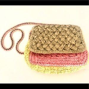J. CREW Colorblocked raffia crossbody bag